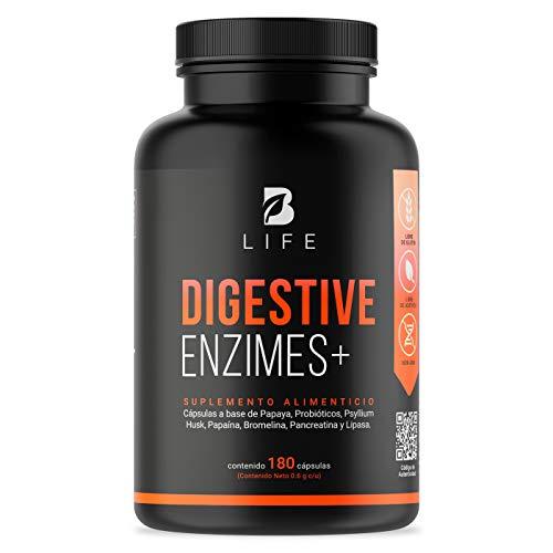 Enzimas Digestivas de 180 cápsulas con 20 billones de Probioticos, Papaina, Psyllium Husk, Pancreatina, Bromelina, Lipasa. B Life Digestive Enzimes