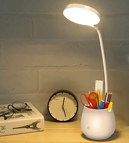Lámpara Escritorio LED, Salandens Lámpara de Mesa con Portalápices 3 Modos de Brillo Flexo LED Escritorio de Protección Ocular Control Táctil y Rotación de 360° para Estudiar, Lectura, Hogar y Trabajo (Lámpara 1)