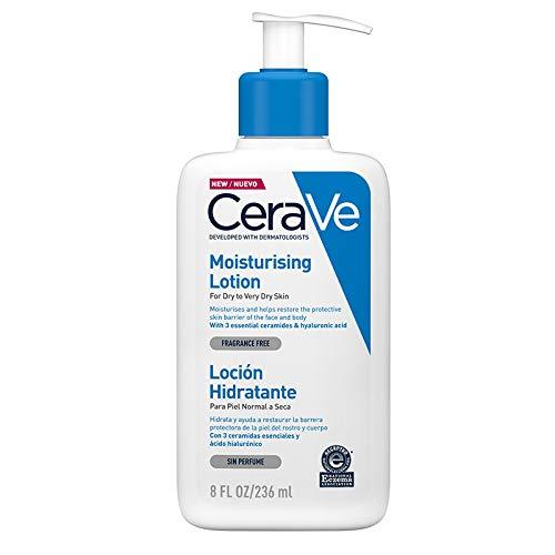 CeraVe Loción Hidratante |237ml| Loción hidratante para rostro y cuerpo para piel seca con ácido hialurónico