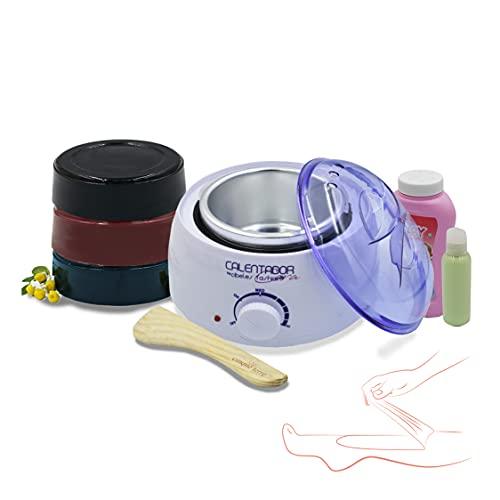 Kit de Depilacion con Cera Española SIN Bandas - Wax Warmer - Waxing Kit - Hair Removal Wax Kit - Secado lento medio y ULTRA