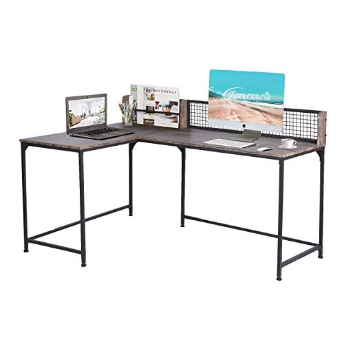 FurnitureR Escritorio de Esquina Escritorio de Juegos de computadora en Forma de L Estación de Trabajo de Mesa para computadora portátil para Oficina en el hogar Nuez y Negro
