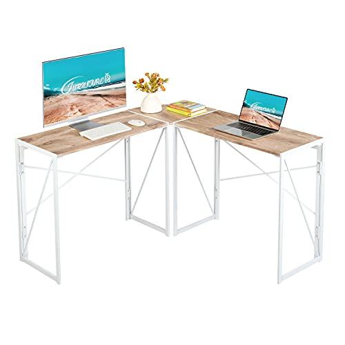 FurnitureR Escritorio de computadora de Esquina Plegable sin ensamblaje Escritorio de Oficina de Estilo Industrial Elegante y Vintage en Forma de L Blanco