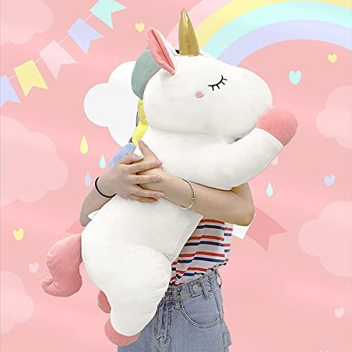 Peluche gigante de unicornio de peluche: almohada suave para abrazar a los animales, gran cuerpo esponjoso, regalos para mascotas grandes para niños, juguete Kawaii para decoración de habitación de las niñas