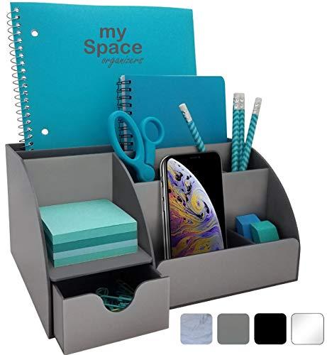 Organizador de escritorio de acrílico con cajón, 9 compartimentos, todo en uno suministros de oficina y organizador de accesorios de escritorio, mejora la decoración de tu oficina con este organizador de escritorio