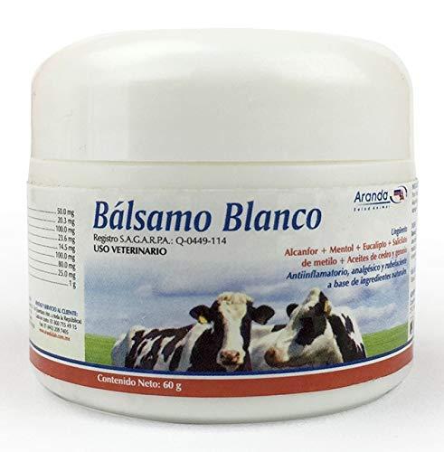 Bálsamo Blanco 60gr - Pomada / Ungüento con desinflamatorio, analgésico (Quita Dolor) y rubefaciente, para Lesiones musculares y articulaciones. Uso en Humanos y Mascotas