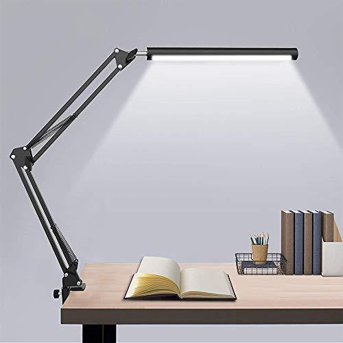 Lámpara de Escritorio LED de 10W, 3 Modos de Luz con 20 Brillos Infinitos Ajustables, Lámpara de Mesa con Brazo Plegable y Rotación de 360 Grados para Trabajar o Estudiar Cuidando los Ojos