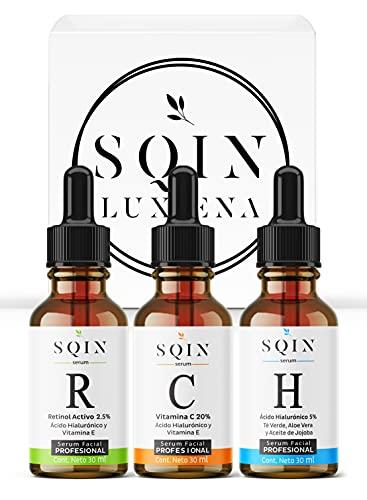 SQIN LX Kit 3 Serums Faciales: Vitamina C 20%, Retinol 2.5%, Ácido Hialurónico Facial 5%. Aclara la Piel, Suero Facial Hidratante Anti Manchas con Vitamina C + E, Serum Profesional Antiarrugas + Antioxidante. 100% Vegano con Ingredientes Naturales. Set Antienvejecimiento, 30ml cada uno.