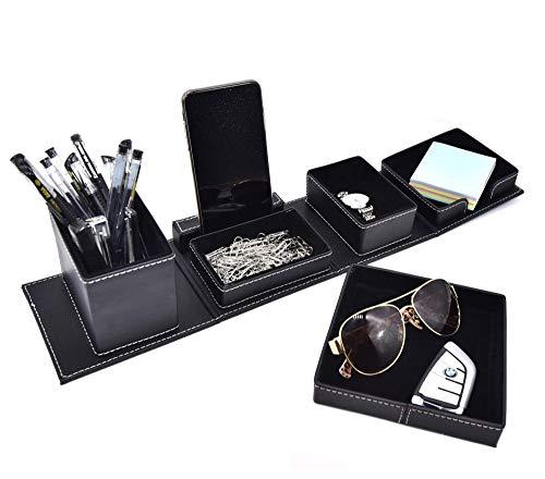 Organizador de escritorio y accesorios de oficina, de cuero, organizador de escritorio para tarjetas, bolígrafos, lápices, teléfono celular/control remoto