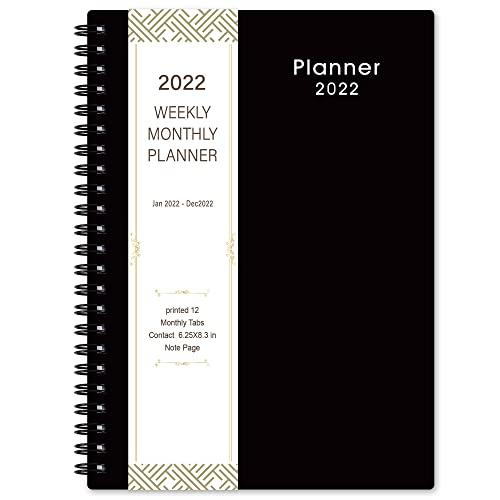 Planificador 2022 - Planificador académico semanal y mensual de enero de 2022 a diciembre de 2022, 6.2 pulgadas × 8.3 pulgadas, negro clásico, mejora tu habilidad de gestión del tiempo