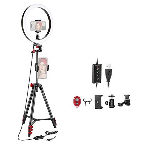 Neewer 26,5cm LED Anillo Luz Selfie con Trípode 3 Modos de Luz Regulable Anillo Luz con trípode 137cm y Soporte para Teléfono para Transmisión en Vivo Maquillaje Youtube Blogging Video Shooting