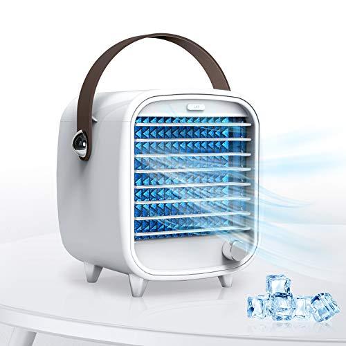 SmartDevil Mini Portátil Ventilador Aire Acondicionado, Ventilador de Enfriamiento Personal USB Pequeño, Caja de hielo incorporada, Viento Fuerte, Características de Luz Nocturna, para Dormir Trabajar Descansar en Casa/Oficina (Blanco)
