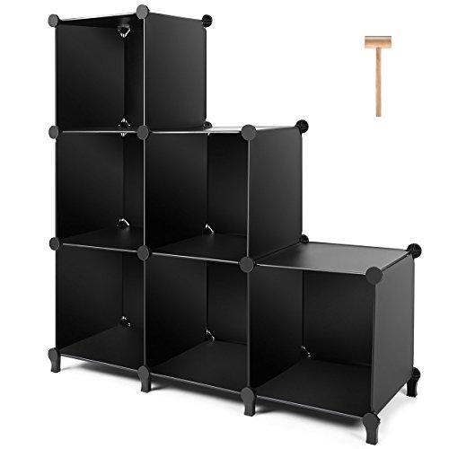 TomCare Cube Storage Organizador de armario de 6 cubos Estantes de almacenamiento Organizador de cubos Gabinete de armario de plástico para bricolaje Estante de libro modular Estantería de almacenamiento para el dormitorio Sala de estar Oficina, Negro