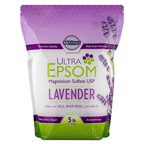 SaltWorks Ultra Epsom, Sal de baño Epsom con Aroma a Lavanda, Bolsa resellable de 5 Libras