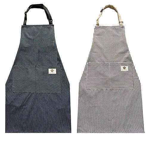 Paquete de 2 delantales ajustables de algodón, delantal de cocina, delantales para mujeres y hombres (rayas negras + rayas de café)