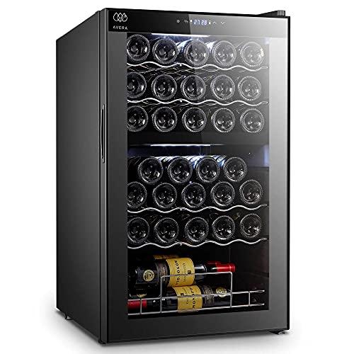 AVERA Cava de vinos para 33 botellas con Doble Zona, Sistema compresor, Luz LED, EV33