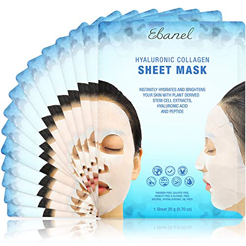 Ebanel 15 unidades de máscaras faciales de colágeno, iluminador instantáneo e hidratante máscara de hoja facial con aloe vera, ácido hialurónico, vitamina C y E, manzanilla, máscara facial antienvejecimiento con colágeno hidrolizado, péptido