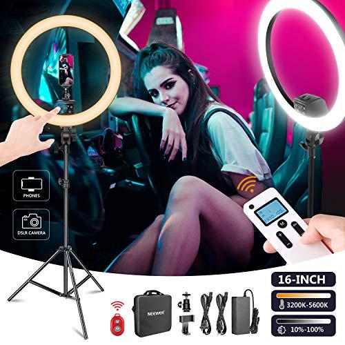Neewer 16-Inch LED Anillo Luz Avanzado Control Manual Táctil con Pantalla LCD Control Remoto Control Luces Múltiples 3200-5600K Soporte Incluido para Maquillaje Youtube Blogger(Negro)