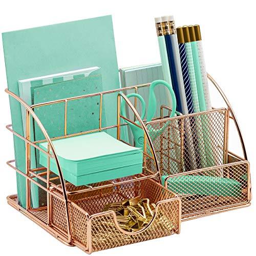 Sorbus - Organizador de escritorio, todo en uno, elegante bandeja de escritorio de malla, incluye soporte para bolígrafos/lápices, organizador de correo, y cajón deslizante, ideal para el hogar u oficina