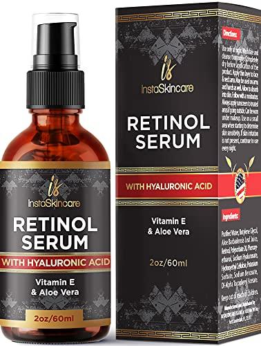 Suero de retinol para la piel (2 oz) con Ácido Hialurónico + Vitamina A y E + Aloe Vera Crema hidratante antienvejecimiento - Disminuye puntos negros - Fórmula de calidad clínica