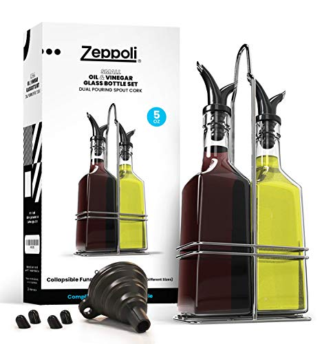 Royal Oil and Vinegar Bottle Set with Stainless Steel Rack and Removible corcho - Dual Olive Oil Spout - Aceitera de oliva, 17oz Olive Oil Bottle and Vinegar Bottle Glass Set, Transparente, Small Set (1 Set), 1