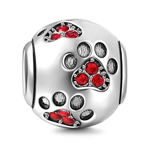 Compatible con pulseras Pandora de plata de ley 925 con diseño de huella de perro, regalo para mujer, piedra natal de animales, joyería de moda, abalorios para mascotas (cristal rojo)