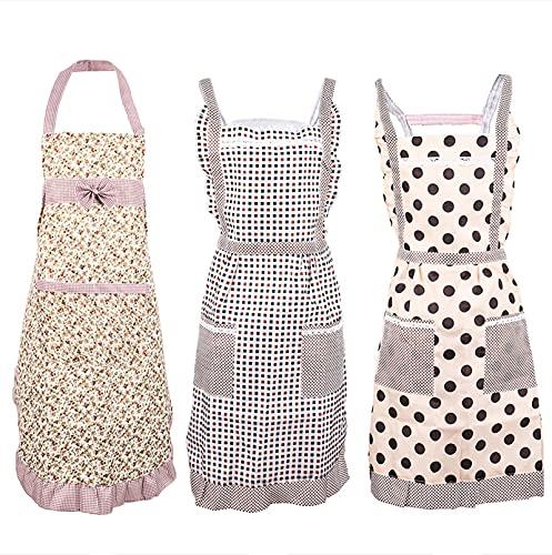 Delantales de cocina para mujer con bolsillos, diseño floral, lindo delantal de cocina vintage, regalo de cumpleaños para mujer, 3 piezas, Gris, 26W×29.5L